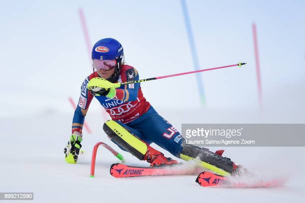 Mikaela Shiffrin of USA competes during the Audi FIS Alpine Ski World Cup Women's Slalom on December 28, 2017 in Lienz, Austria.