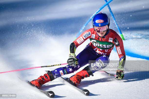 Mikaela Shiffrin of USA competes during the Audi FIS Alpine Ski World Cup Women's Giant Slalom on December 29, 2017 in Lienz, Austria.