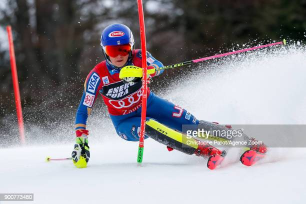 Mikaela Shiffrin of USA competes during the Audi FIS Alpine Ski World Cup Women's Slalom on January 3 2018 in Zagreb Croatia