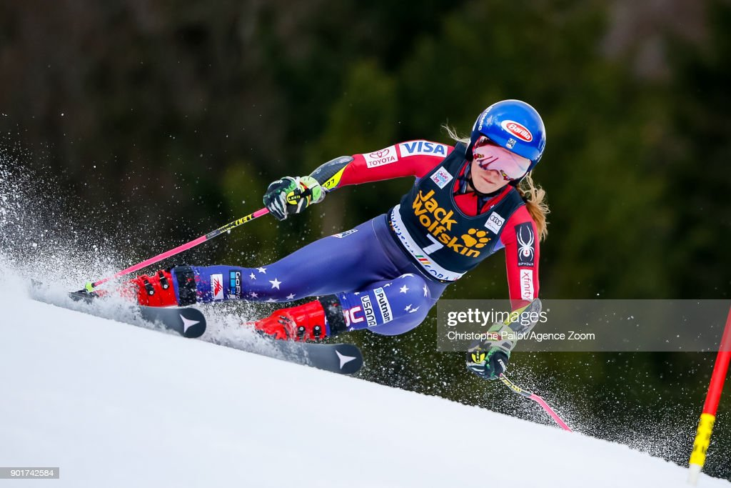 Mikaela Shiffrin of USA competes during the Audi FIS Alpine Ski World Cup Women's Giant Slalom on January 6, 2018 in Kranjska Gora, Slovenia.