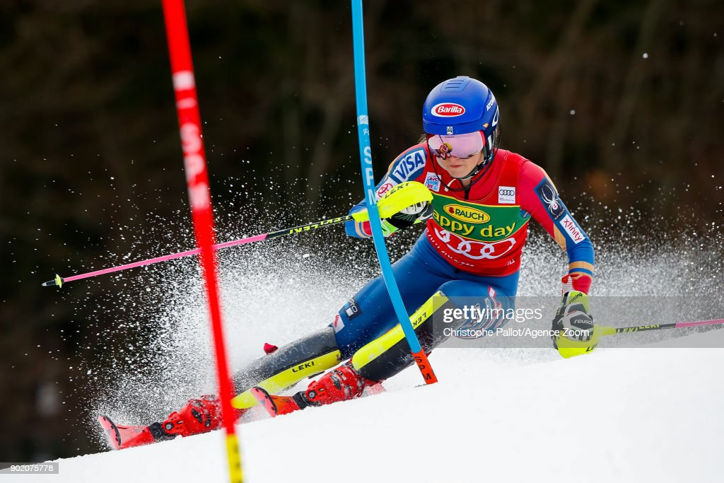 Mikaela Shiffrin of USA competes during the Audi FIS Alpine Ski World Cup Women's Slalom on January 7, 2018 in Kranjska Gora, Slovenia.