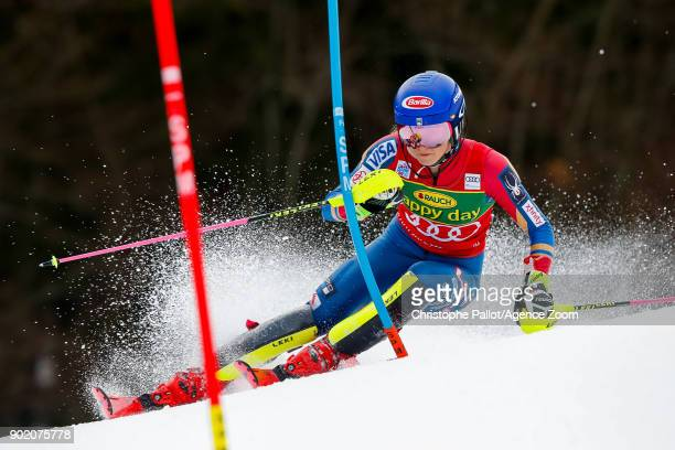 Mikaela Shiffrin of USA competes during the Audi FIS Alpine Ski World Cup Women's Slalom on January 7 2018 in Kranjska Gora Slovenia