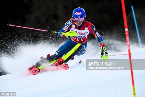 Mikaela Shiffrin of USA competes during the Audi FIS Alpine Ski World Cup Women's Slalom on January 28 2018 in Lenzerheide Switzerland
