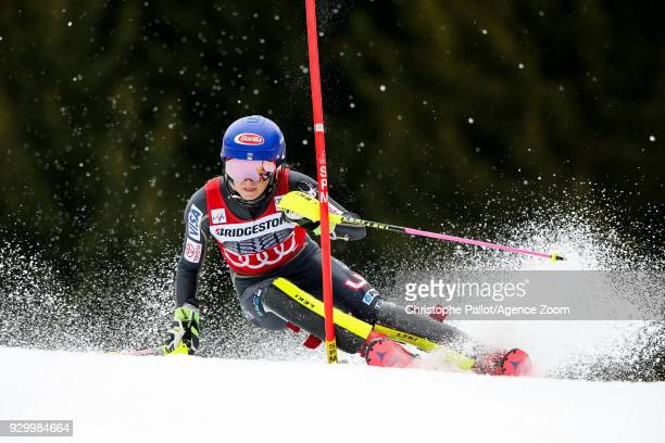 Mikaela Shiffrin of USA competes during the Audi FIS Alpine Ski World Cup Women's Slalom on March 10 2018 in Ofterschwang Germany