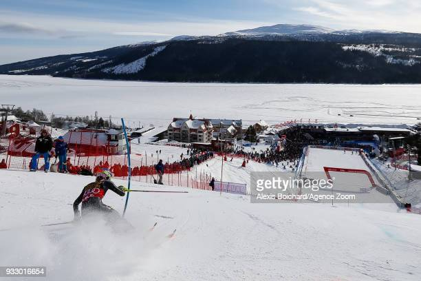 Mikaela Shiffrin of USA competes during the Audi FIS Alpine Ski World Cup Finals Women's Slalom on March 17 2018 in Are Sweden