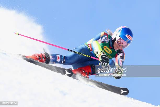 Mikaela Shiffrin of USA competes in the first run of the AUDI FIS Ski World Cup Ladies Giant Slalom on October 28 2017 in Soelden Austria
