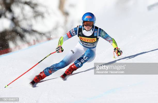 Mikaela Shiffrin of USA competes in the Women's Super-G during the FIS World Ski Championships Women's Super Giant Slalom on February 11, 2021 in...