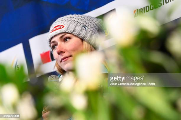 Mikaela Shiffrin of USA during a press conference during the Audi FIS Alpine Ski World Cup Finals Women's Slalom on March 17 2018 in Are Sweden