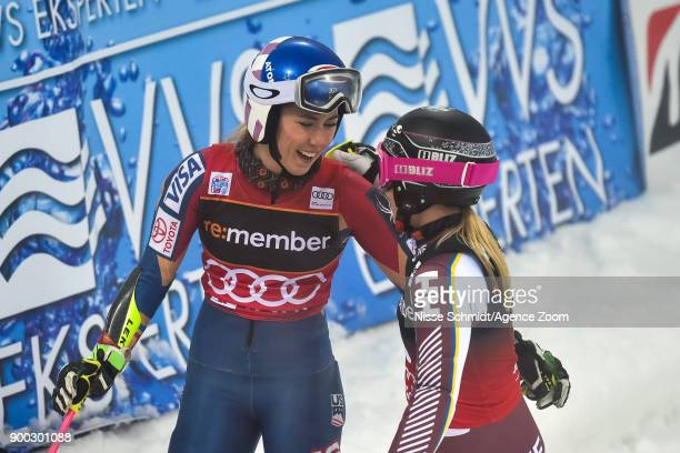 Mikaela Shiffrin of USA Frida Hansdotter of Sweden compete during the Audi FIS Alpine Ski World Cup Men's and Women's City Event on January 1 2018 in...