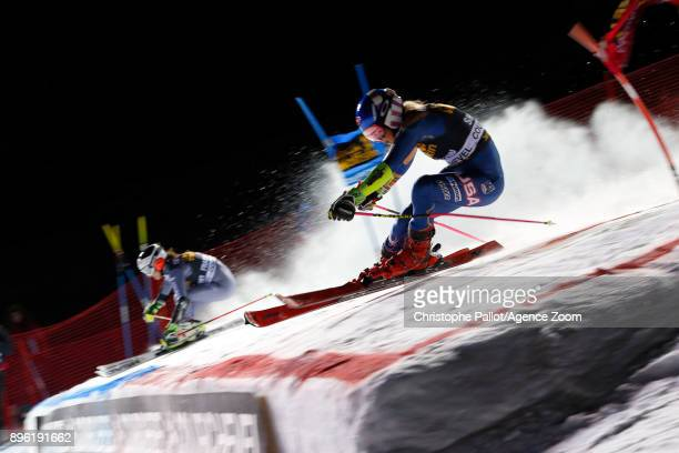 Mikaela Shiffrin of USA in action Coralie Frasse Sombet of France in action during the Audi FIS Alpine Ski World Cup Women's Parallel Slalom on...