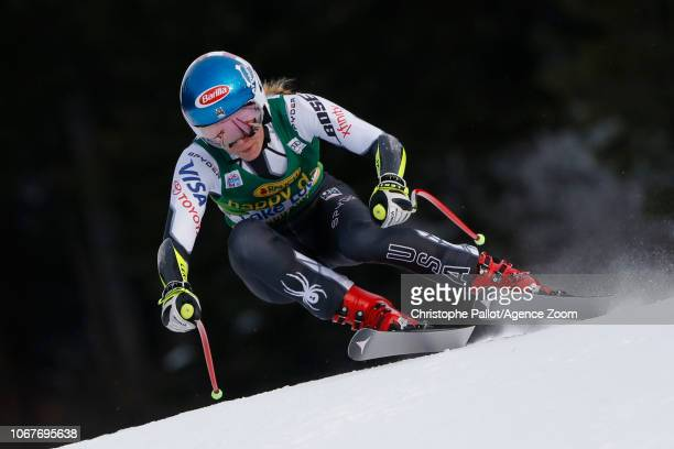 Mikaela Shiffrin of USA in action during the Audi FIS Alpine Ski World Cup Women's Super G on December 2 2018 in Lake Louise Canada
