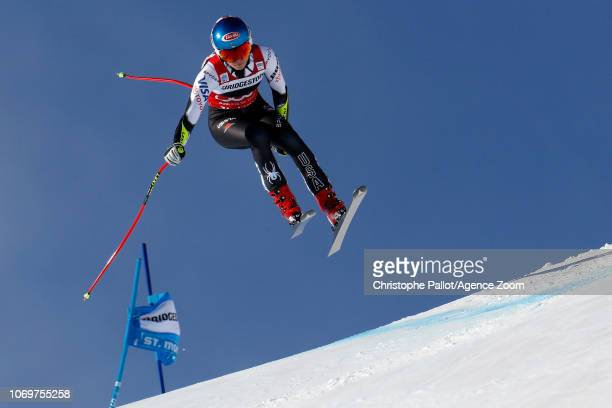 Mikaela Shiffrin of USA in action during the Audi FIS Alpine Ski World Cup Women's Super G on December 8 2018 in St Moritz Switzerland