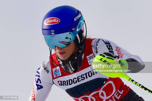 Mikaela Shiffrin of USA in action during the Audi FIS Alpine Ski World Cup Women's Slalom on December 22 2018 in Courchevel France