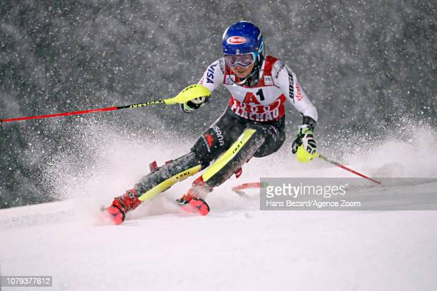 Mikaela Shiffrin of USA in action during the Audi FIS Alpine Ski World Cup Women's Slalom on January 8 2019 in Flachau Austria
