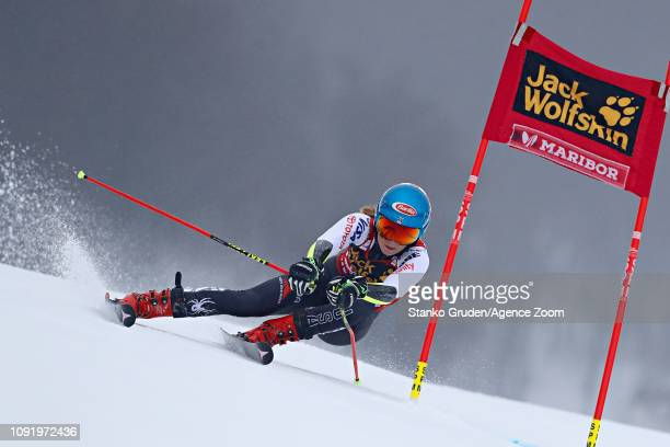 Mikaela Shiffrin of USA in action during the Audi FIS Alpine Ski World Cup Women's Giant Slalom on February 1 2019 in Maribor Slovenia