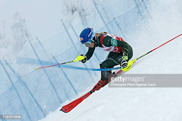 Mikaela Shiffrin of USA in action during the Audi FIS Alpine Ski World Cup Women's Slalom on November 23, 2019 in Levi Finland.