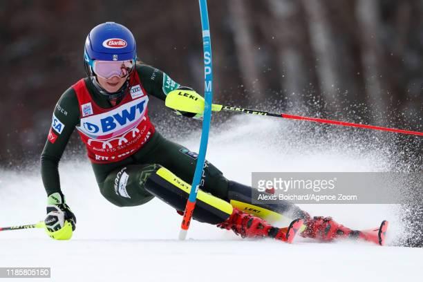 Mikaela Shiffrin of USA in action during the Audi FIS Alpine Ski World Cup Women's Slalom on December 1 2019 in Killington USA