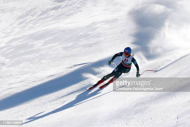 Mikaela Shiffrin of USA in action during the Audi FIS Alpine Ski World Cup Women's Downhill Training on January 23 2020 in Bansko Bulgaria
