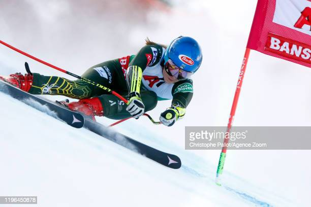 Mikaela Shiffrin of USA in action during the Audi FIS Alpine Ski World Cup Women's Super G on January 26 2020 in Bansko Bulgaria