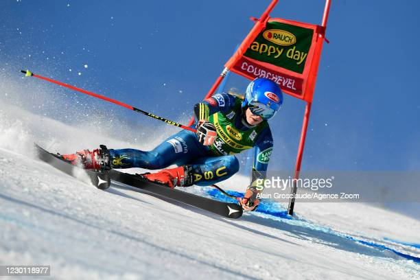 Mikaela Shiffrin of USA in action during the Audi FIS Alpine Ski World Cup Giant Slalom on December 14, 2020 in Courchevel, France.