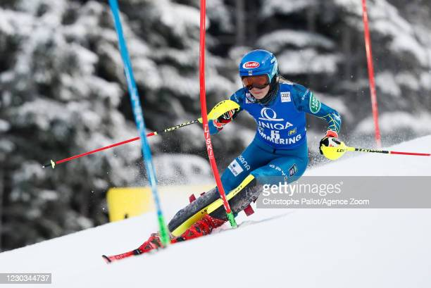 Mikaela Shiffrin of USA in action during the Audi FIS Alpine Ski World Cup Women's Slalom on December 29, 2020 in Semmering, Austria.