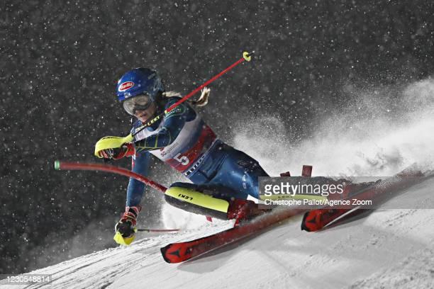 Mikaela Shiffrin of USA in action during the Audi FIS Alpine Ski World Cup Women's Slalom on January 12, 2021 in Flachau Austria.