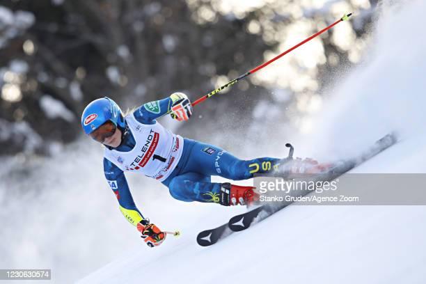 Mikaela Shiffrin of USA in action during the Audi FIS Alpine Ski World Cup Women's Giant Slalom in January 17, 2021 in Kranjska Gora, Slovenia.
