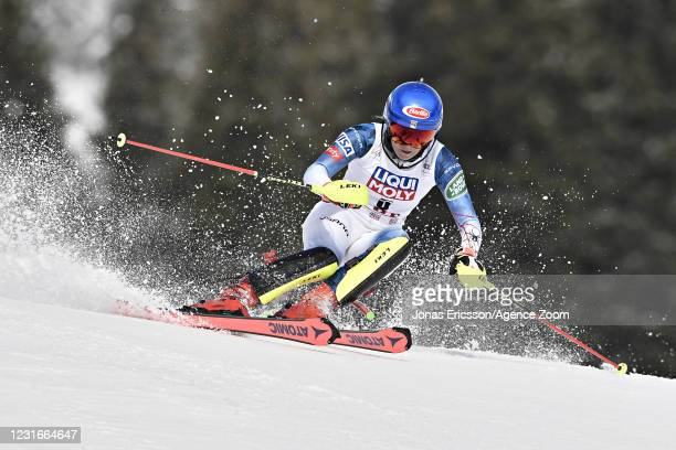 Mikaela Shiffrin of USA in action during the Audi FIS Alpine Ski World Cup Women's Slalom on March 12, 2021 in Are Sweden.
