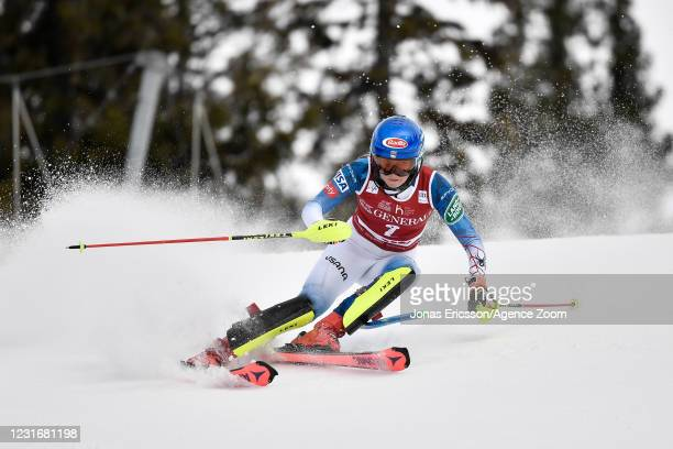 Mikaela Shiffrin of USA in action during the Audi FIS Alpine Ski World Cup Women's Slalom on March 13, 2021 in Are Sweden.