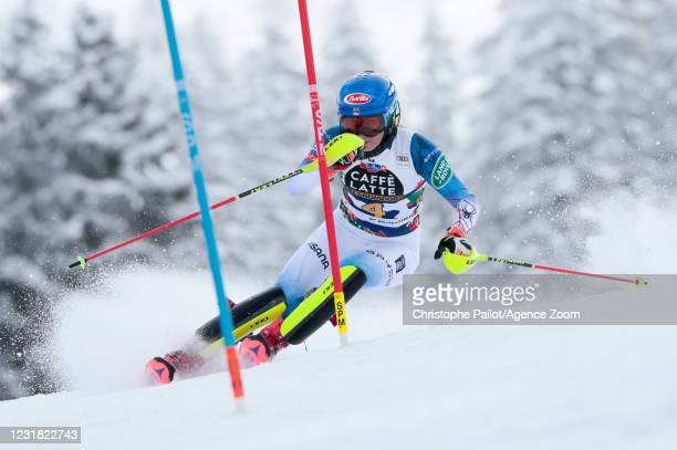 Mikaela Shiffrin of USA in action during the Audi FIS Alpine Ski World Cup Women's Slalom on March 20, 2021 in Lenzerheide, Switzerland.