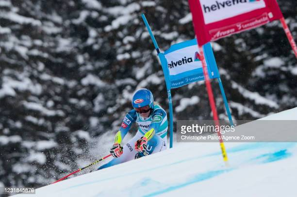 Mikaela Shiffrin of USA in action during the Audi FIS Alpine Ski World Cup Women's Giant Slalom on March 21, 2021 in Lenzerheide, Switzerland.