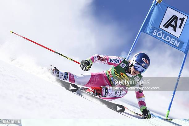 Mikaela Shiffrin of USA in action during the Audi FIS Alpine Ski World Cup Women's Giant Slalom on October 22 2016 in Soelden Austria