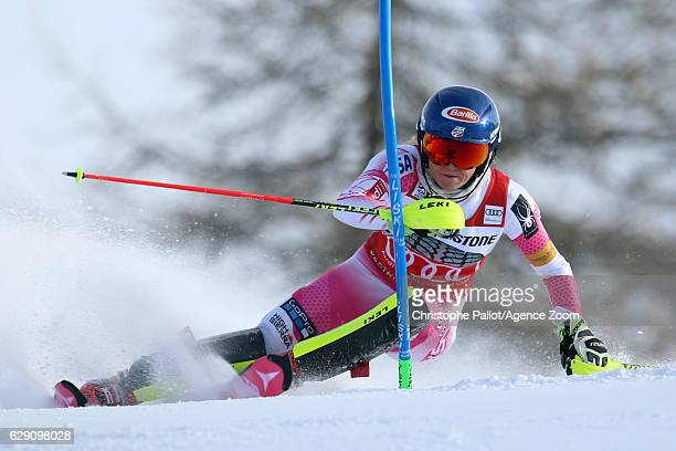 Mikaela Shiffrin of USA in action during the Audi FIS Alpine Ski World Cup Women's Slalom on December 11 2016 in Sestriere Italy
