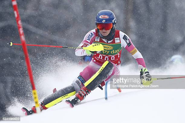 Mikaela Shiffrin of USA in action during the Audi FIS Alpine Ski World Cup Women's Slalom on January 08 2017 in Maribor Slovenia