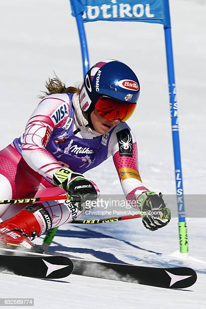 Mikaela Shiffrin of USA in action during the Audi FIS Alpine Ski World Cup Women's Giant Slalom on January 24 2017 in Kronplatz Italy