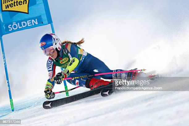 Mikaela Shiffrin of USA in action during the Audi FIS Alpine Ski World Cup Women's Giant Slalom on October 28 2017 in Soelden Austria