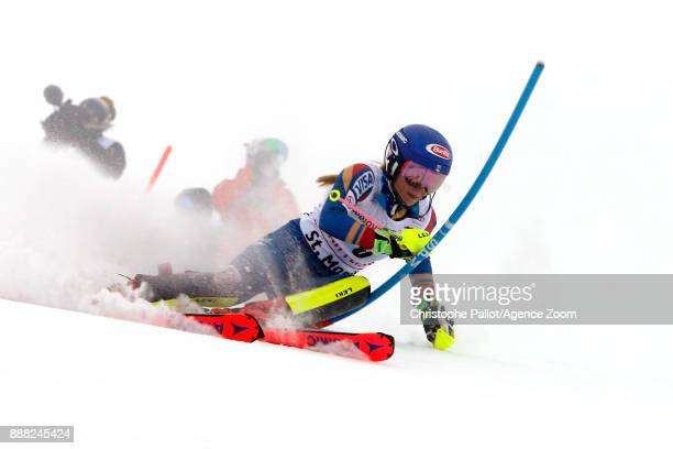 Mikaela Shiffrin of USA in action during the Audi FIS Alpine Ski World Cup Women's Combined on December 8 2017 in St Moritz Switzerland