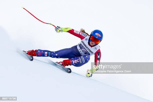 Mikaela Shiffrin of USA in action during the Audi FIS Alpine Ski World Cup Women's Super G on December 9 2017 in St Moritz Switzerland