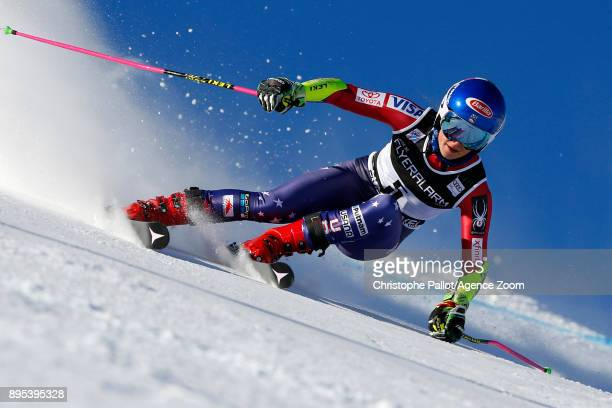 Mikaela Shiffrin of USA in action during the Audi FIS Alpine Ski World Cup Women's Giant Slalom on December 19 2017 in Courchevel France