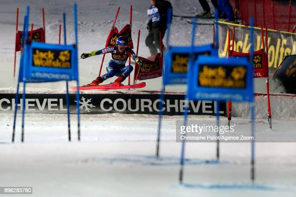 Mikaela Shiffrin of USA in action during the Audi FIS Alpine Ski World Cup Women's Parallel Slalom on December 20 2017 in Courchevel France