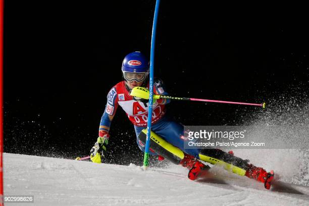 Mikaela Shiffrin of USA in action during the Audi FIS Alpine Ski World Cup Women's Slalom on January 9 2018 in Flachau Austria