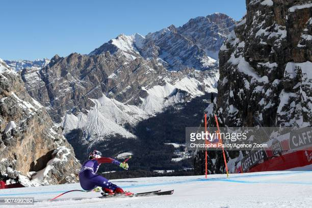 Mikaela Shiffrin of USA in action during the Audi FIS Alpine Ski World Cup Women's Downhill on January 19 2018 in Cortina d'Ampezzo Italy