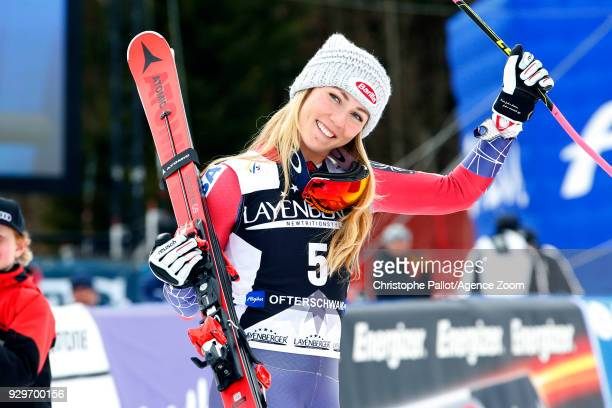 Mikaela Shiffrin of USA in action during the Audi FIS Alpine Ski World Cup Women's Giant Slalom on March 9 2018 in Ofterschwang Germany