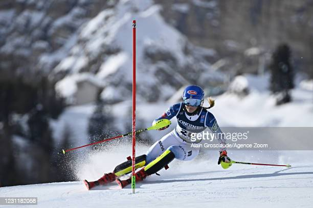 Mikaela Shiffrin of USA in action during the FIS Alpine Ski World Championships Women's Alpine Combined on February 15, 2021 in Cortina d'Ampezzo...