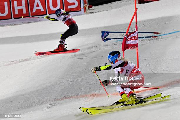 Mikaela Shiffrin of USA in action Katharina Truppe of Austria in action during the Audi FIS Alpine Ski World Cup Men's and Women's City Event on...