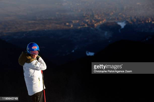 Mikaela Shiffrin of USA inspects the course during the Audi FIS Alpine Ski World Cup Women's Downhill on January 24 2020 in Bansko Bulgaria