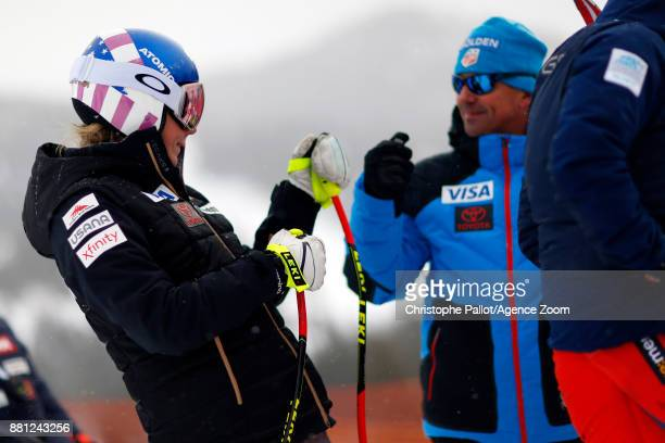 Mikaela Shiffrin of USA inspects the course during the Audi FIS Alpine Ski World Cup Women's Downhill Training on November 28 2017 in Lake Louise...