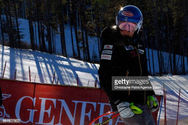 Mikaela Shiffrin of USA inspects the course during the Audi FIS Alpine Ski World Cup Women's Super G on December 3 2017 in Lake Louise Canada