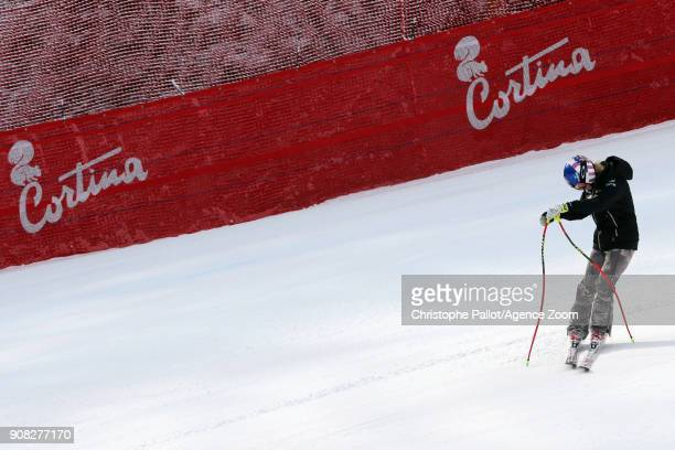 Mikaela Shiffrin of USA inspects the course during the Audi FIS Alpine Ski World Cup Women's Super G on January 21 2018 in Cortina d'Ampezzo Italy