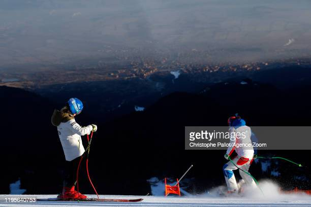 Mikaela Shiffrin of USA inspects the course Petra Vlhova of Slovakia inspects the course during the Audi FIS Alpine Ski World Cup Women's Downhill on...